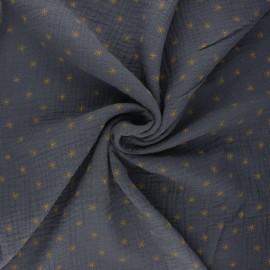 Tissu double gaze de coton Stars - gris ardoise x 10cm