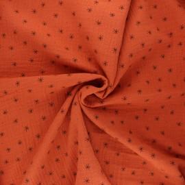 Tissu double gaze de coton Stars - rouille x 10cm