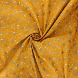 Poppy poplin cotton fabric - mustard yellow Flowers x 10cm