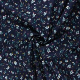 Tissu popeline de coton Poppy Flowers - bleu marine x 10cm