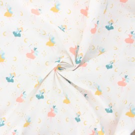 Poppy poplin cotton fabric - white Magical fairy x 10cm