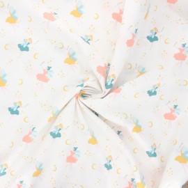 Tissu popeline de coton Poppy Magical fairy - blanc x 10cm