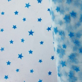 Flexible Flocked Tulle Stars - Blue / White x 10cm