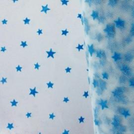 Tulle souple floqué étoile bleu sur blanc x10cm