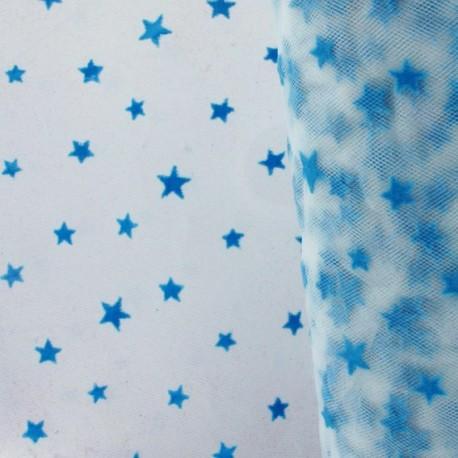 Tulle souple floqué étoile bleu sur blanc au mètre