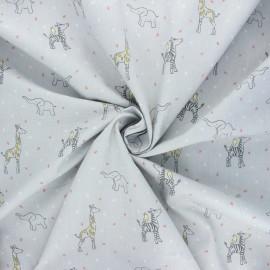 Tissu popeline de coton Poppy Sweet animals - gris x 10cm