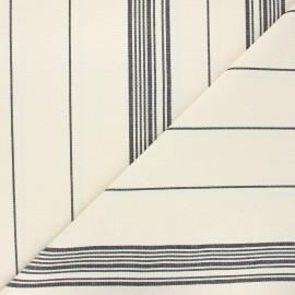 Tissu toile coton rayures classiques - noir x 10cm