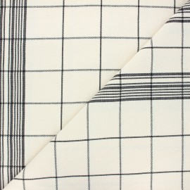Checked Cotton Canvas Fabric - Black x 10cm