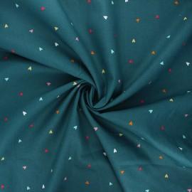 Tissu popeline de coton Poppy Hearts - vert paon x 10cm