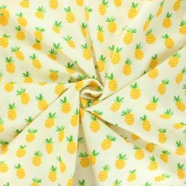 Tissu popeline de coton Piña - jaune pâle x 10cm