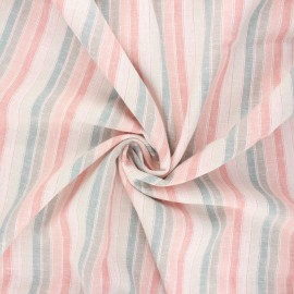 Linen and viscose voile fabric - pink Croisette x 10 cm