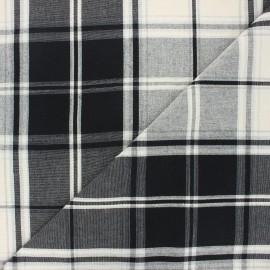 Tissu toile coton carreaux - noir x 10cm