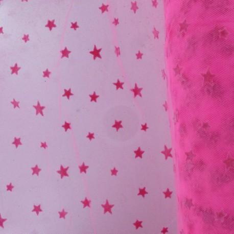 Tulle souple floqué étoile barbapapa sur fluo rose au mètre