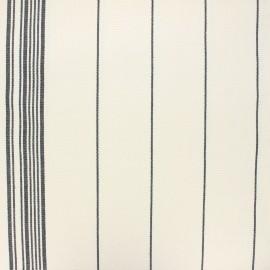 Tissu toile rondelette rayure classique - noir x 10cm