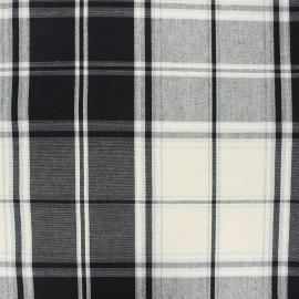 Tissu toile rondelette carreaux - noir x 10cm