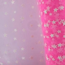 Tulle souple floqué étoile blanche sur fluo rose x10cm
