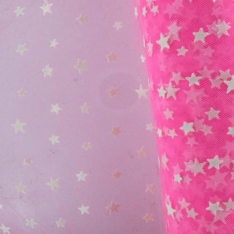 Flexible Flocked Tulle Stars - White / Fluo Pink x 10cm