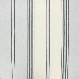 Tissu toile rondelette rayure - gris x 10cm