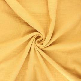 Tissu double gaze de coton Marion - jaune moutarde x 10cm
