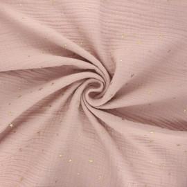 Tissu double gaze de coton Cosmicolo doré - eau de rose x 10cm