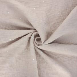 Tissu double gaze de coton Cosmicolo argenté - grège x 10cm