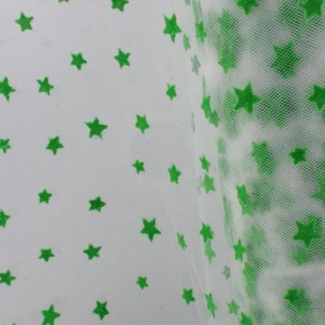 Flexible Flocked Tulle Stars - Green / White x 10cm