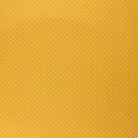 Tissu coton cretonne enduit Poppy Petit dots - jaune moutarde x 10cm