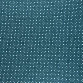Poppy coated cretonne cotton fabric - peacock green Petit dots x 10cm