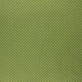 Tissu coton cretonne enduit Poppy Petit dots - vert avocat  x 10cm