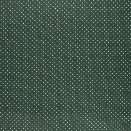 Tissu coton cretonne enduit Poppy Petit dots - vert foncé x 10cm