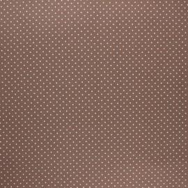 Poppy coated cretonne cotton fabric - taupe Petit dots x 10cm