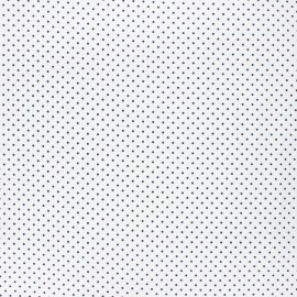 Poppy coated cretonne cotton fabric - white/night blue Petit dots x 10cm