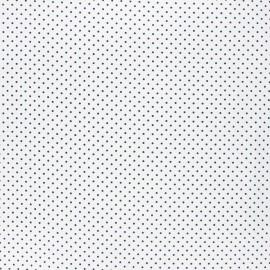 Tissu coton cretonne enduit Poppy Petit dots - blanc/bleu nuit x 10cm