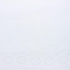 Tissu double gaze de coton brodé festonné - blanc x 10cm