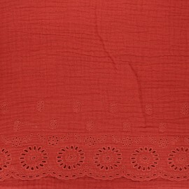 Scalloped embroidered double gauze fabric - red brick x 10cm