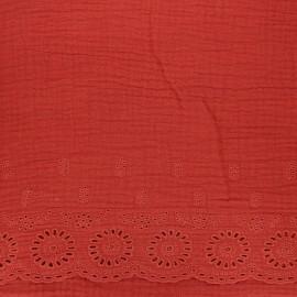 Tissu double gaze de coton brodé festonné - tomette x 10cm