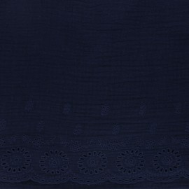 Tissu double gaze de coton brodé festonné - bleu marine x 10cm