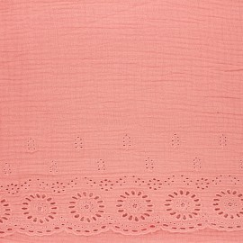 Scalloped embroidered double gauze fabric - rosewood x 10cm