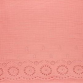 Tissu double gaze de coton brodé festonné - bois de rose x 10cm