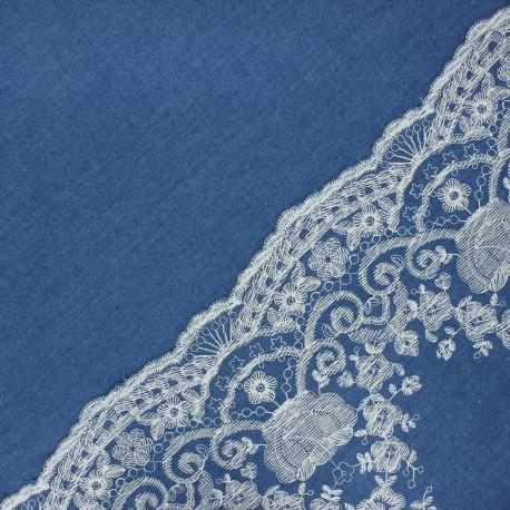 Tissu jeans fluide brodé festonné - bleu x 10cm