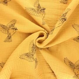 Tissu double gaze de coton Birdy - jaune moutarde x 10cm