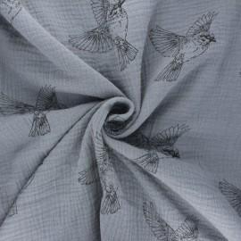 Double gauze cotton fabric - grey Birdy x 10cm