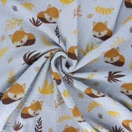 Double gauze cotton fabric - grey Sleepy foxy x 10cm