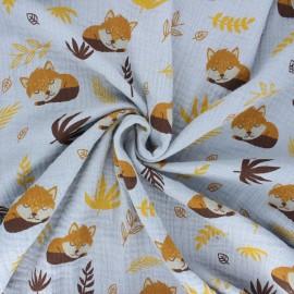 Tissu double gaze de coton Sleepy foxy - gris x 10cm
