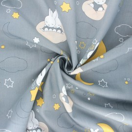 Tissu popeline de coton Miffi nighty night - gris x 10cm