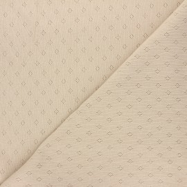 Tissu jersey maille ajourée Diamond - sable x 10cm