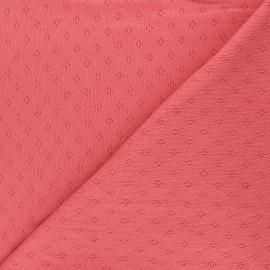 Tissu jersey maille ajourée Diamond - marsala x 10cm