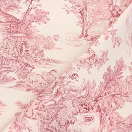 Tissu toile de Jouy Pastorale - écru/framboise x 48cm