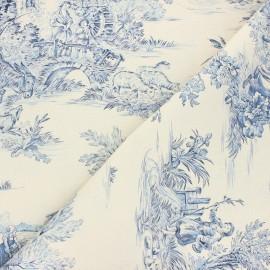 Tissu toile de Jouy Pastorale - écru/bleu x 48cm
