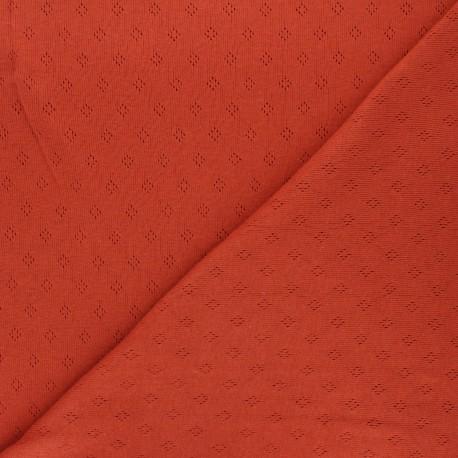 Tissu jersey maille ajourée Diamond - rouille x 10cm